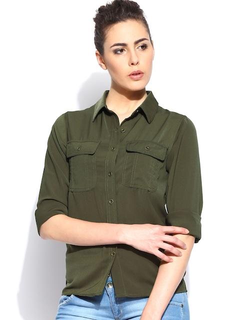 Buy Roadster Women Olive Green Shirt - Shirts for Women   Myntra