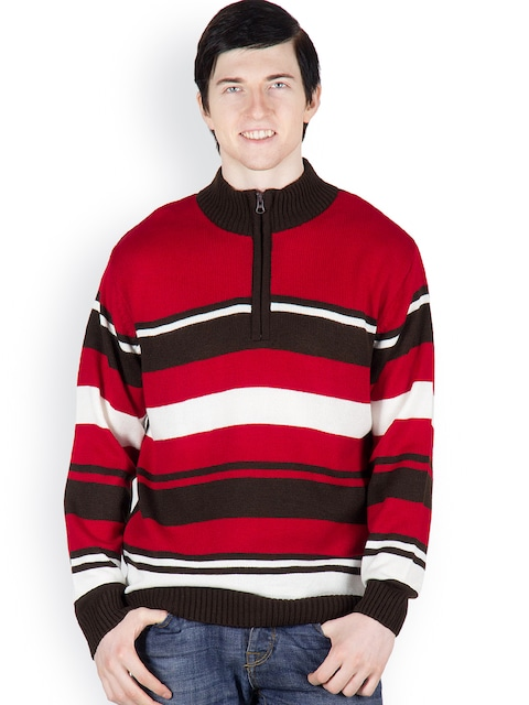 Buy Cotton County Premium Men Red & Brown Pullover - Sweaters for ...