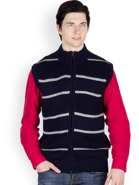 Buy Cotton County Premium Men Navy Striped Sleeveless Pullover ...