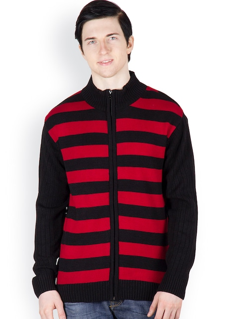 Buy Cotton County Premium Men Red & Black Striped Pullover ...