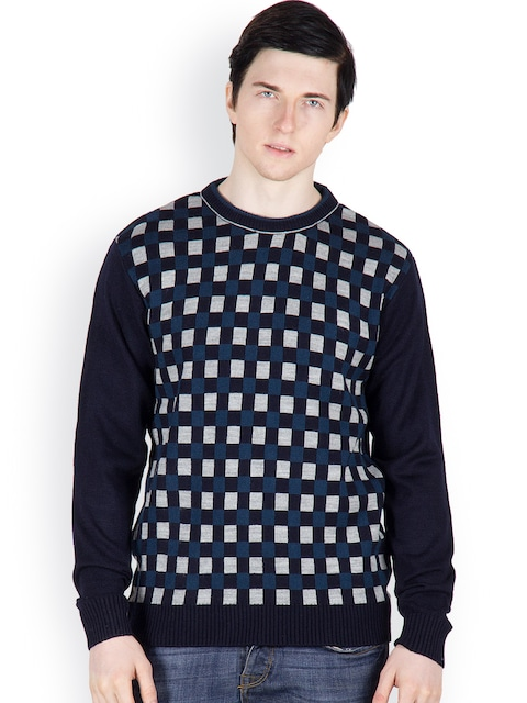 Buy Cotton County Premium Men Navy & Grey Checked Pullover ...
