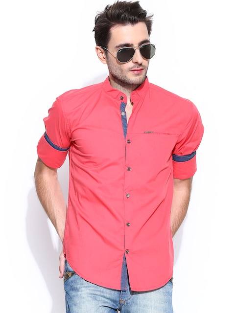 Buy Yellow Jeans Men Coral Pink Liquid Fit Casual Shirt - Shirts ...
