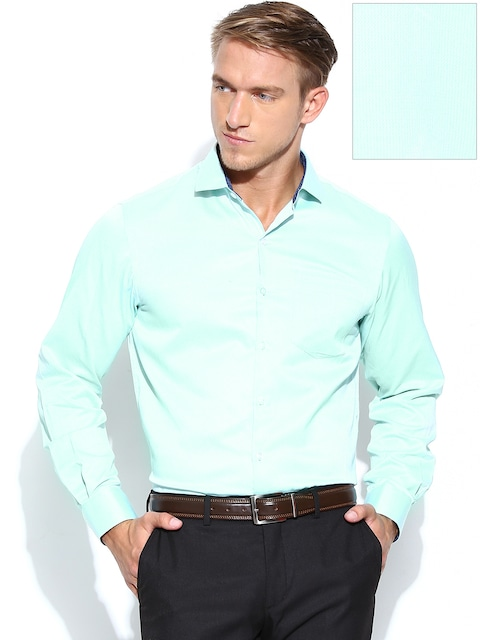 Buy John Players Men Mint Green Slim Fit Formal Shirt - Shirts for ...