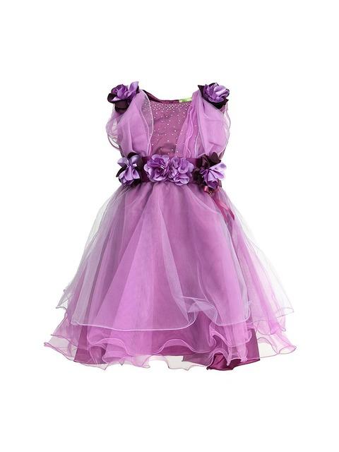 Buy CUTECUMBER Girls Purple Fit & Flare Dress - Dresses for Girls ...