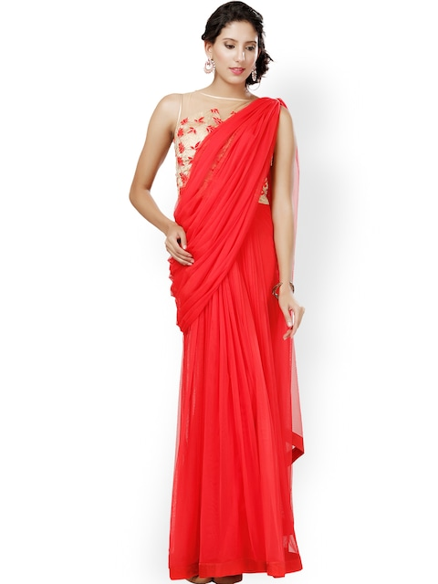 Buy Eavan Red & Beige Embroidered Saree Gown - Dresses for Women ...