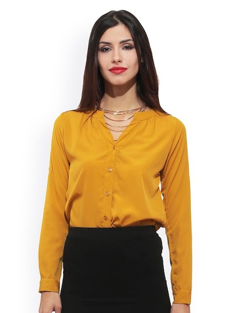 Buy FabAlley Women Mustard Yellow Shirt - Shirts for Women 502695 ...