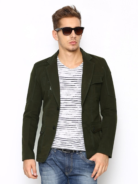 Buy Fort Collins Men Olive Green Blazer - Blazers for Men | Myntra