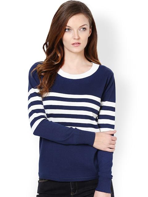 Buy Harpa Women Navy & White Striped Sweater - Sweaters for Women ...