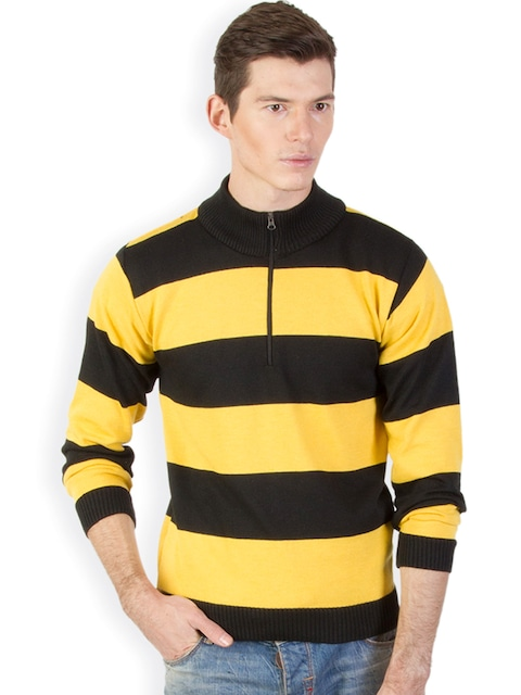 Buy Kapapai Men Yellow & Black Striped Woollen Sweater - Sweaters ...