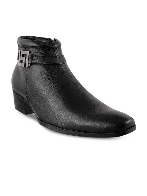Buy Mochi Men Black Leather Boots - Casual Shoes for Men 776745 ...
