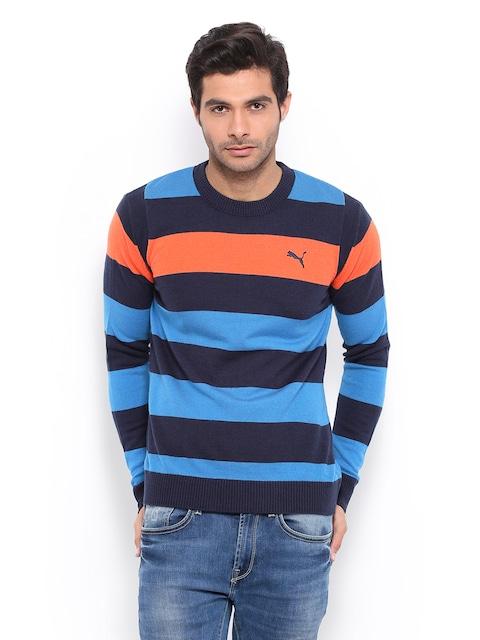 Buy Puma Men Blue & Orange Striped Sweater - Sweaters for Men ...