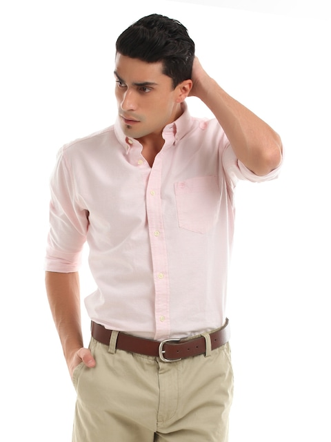 Buy Timberland Men Light Pink Oxford Shirt - Shirts for Men | Myntra