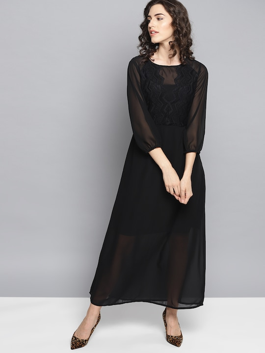 Women Black Solid Semi Sheer Maxi Dress