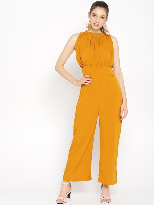 Women Mustard Yellow Solid Basic Jumpsuit