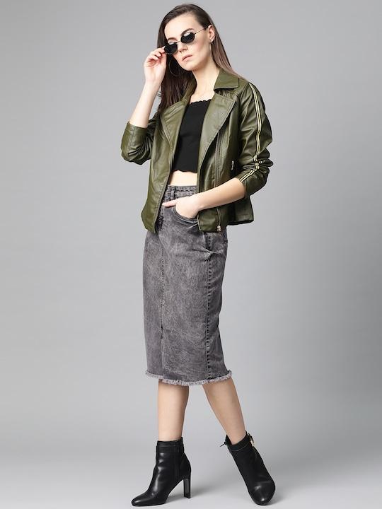 Women Charcoal Grey Acid Washed Midi Denim Skirt