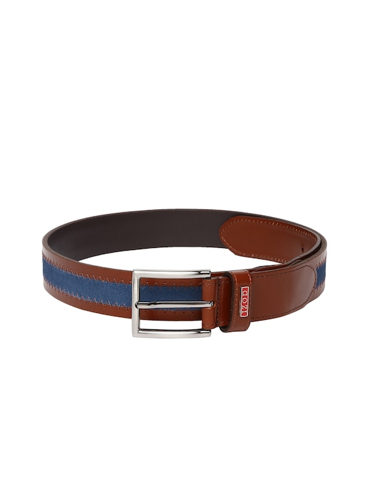 IZOD Men Brown & Blue Striped Leather Belt