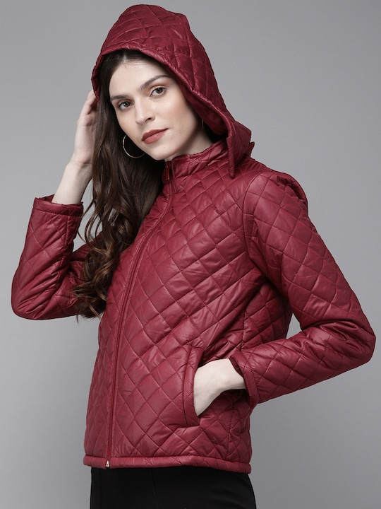 Women Maroon Solid Quilted Hooded Jacket