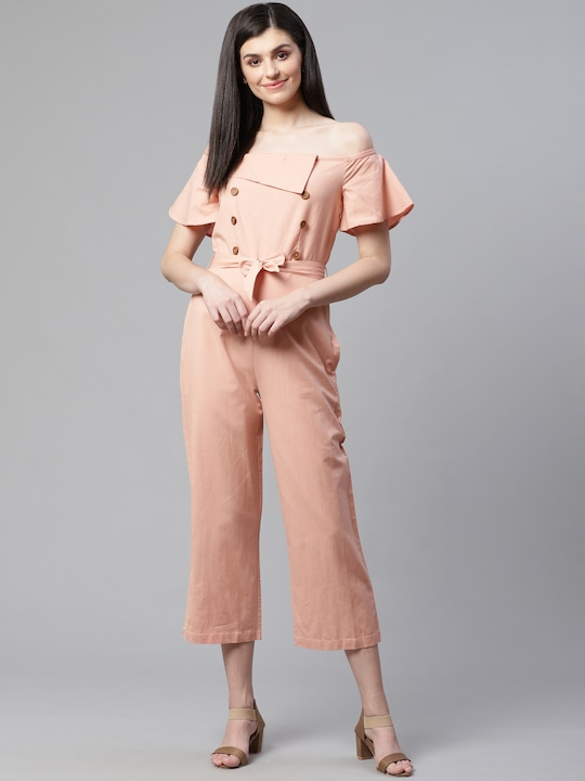 Women Peach-Coloured Solid Cropped Basic Jumpsuit