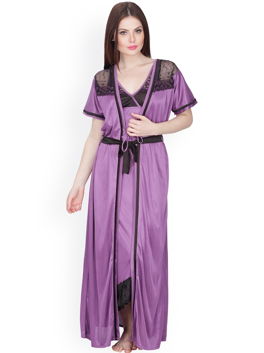 Secret Wish Purple Maxi Nightdress with Robe HC-174