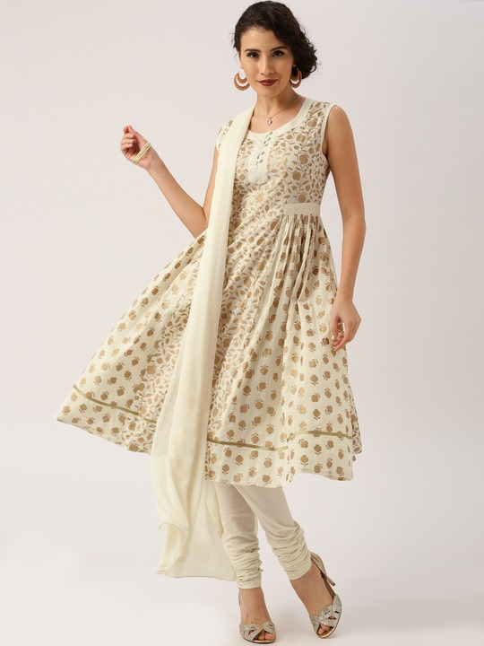 All about you from Deepika Padukone Cream Anarkali khadi printed Kurta With Churidar