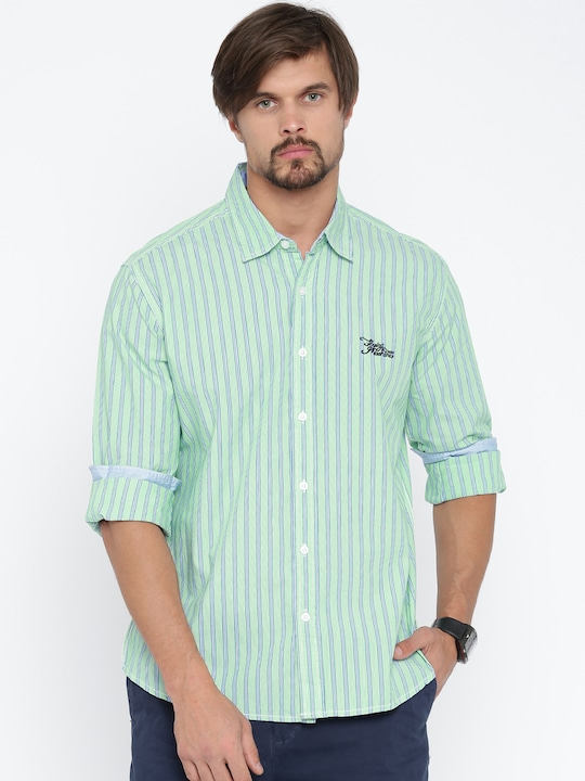 Flying Machine Men Green & Blue Striped Casual Shirt