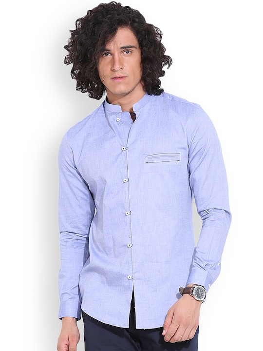 MR BUTTON Blue Structured Fit Casual Shirt