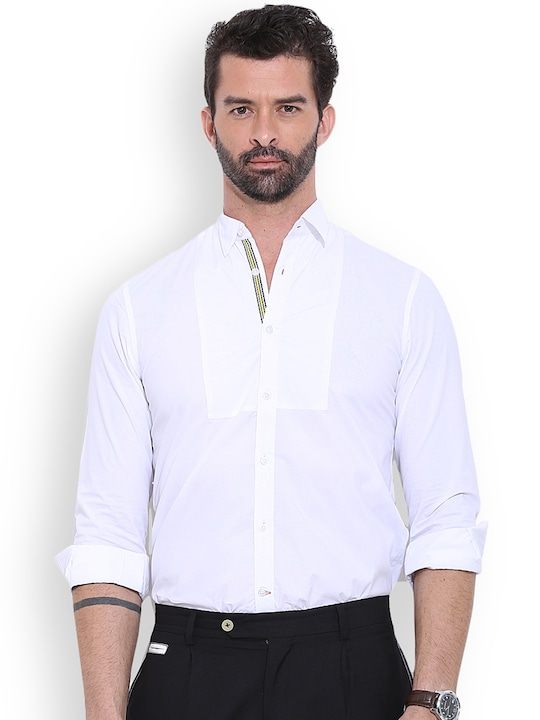 MR BUTTON White Structured Fit Smart Casual Shirt