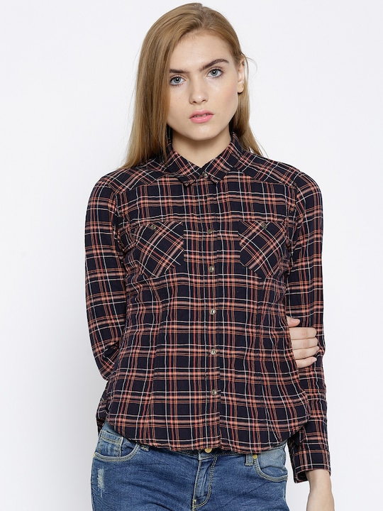 Wills Lifestyle Black & Orange Checked Casual Shirt