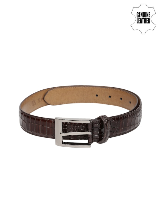 Mast & Harbour Men Brown Textured Genuine Leather Belt
