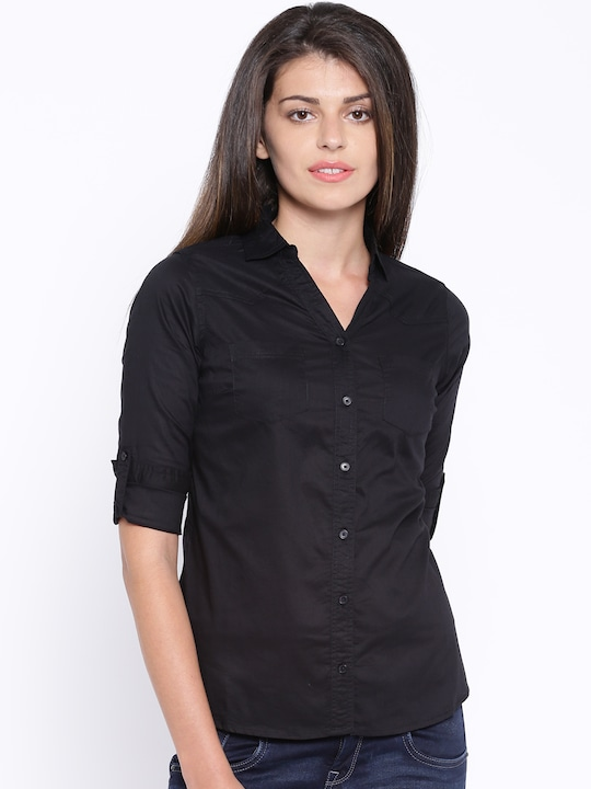U.S. Polo Assn. Women Women Black Solid Casual Shirt