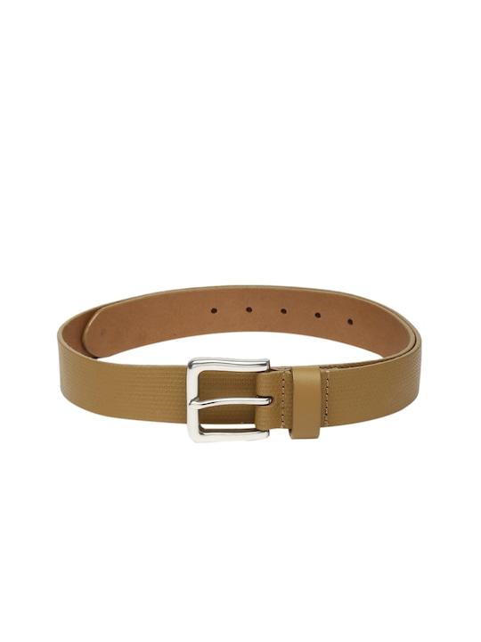 Celio Tan Brown Textured Leather Belt