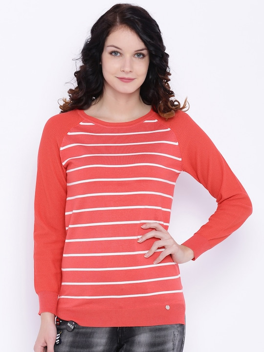 Deal Jeans Women Coral Striped Top