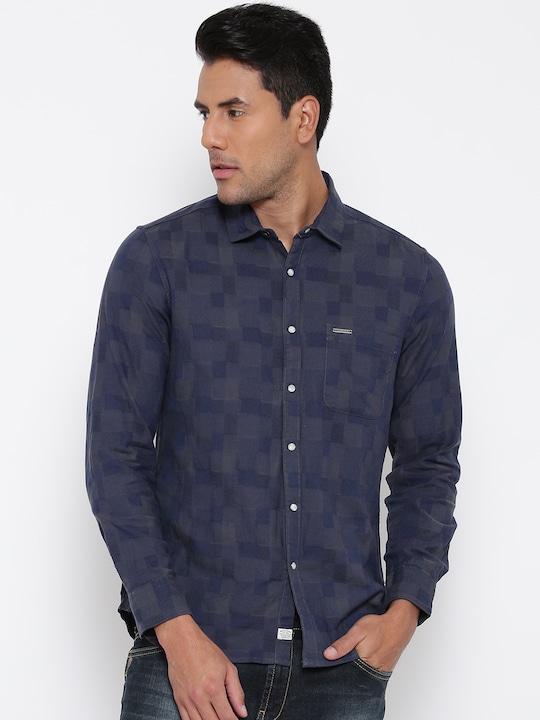 Indigo Nation Street Men Navy Blue Slim Fit Self-Design Casual Shirt