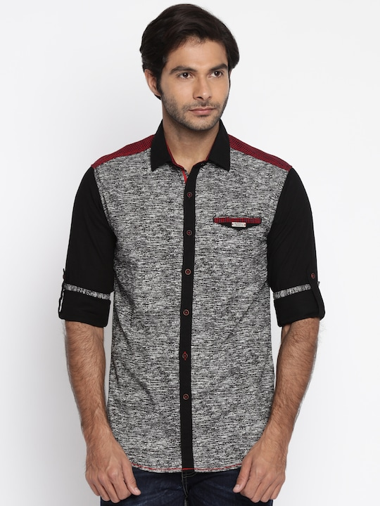 The Indian Garage Co Men Black Printed Slim Fit Casual Shirt