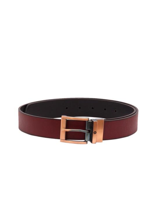 VIARI Men Maroon & Black Genuine Leather Reversible Belt