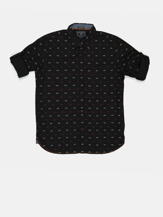 Indian Terrain Boys Black Printed Casual Shirt