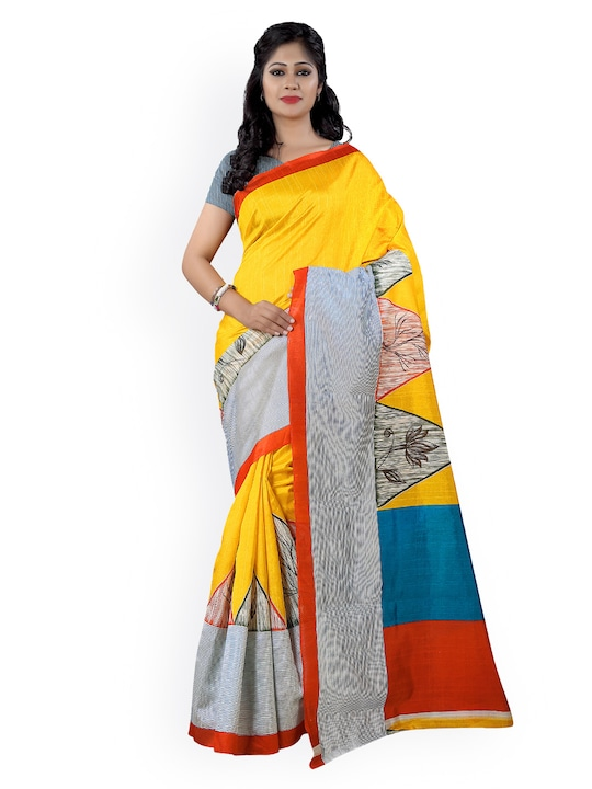 Saree Mall Yellow Art Silk Printed Saree