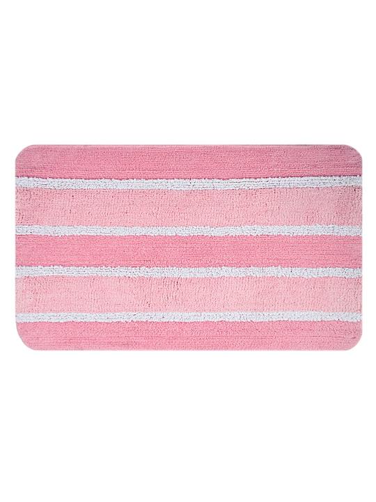 Pink Striped Rectangular Bath Rug