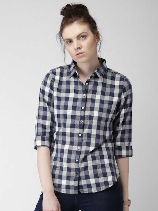 Mast & Harbour Women Navy Checked Casual Shirt