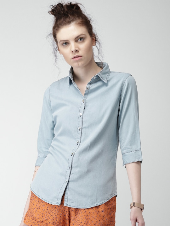 Mast & Harbour Women Blue Casual Shirt