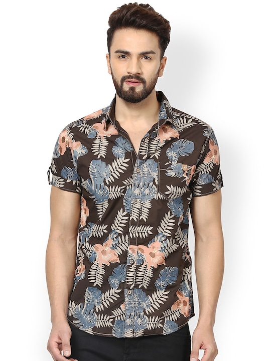 Mufti Men Brown Printed Slim Fit Casual Shirt