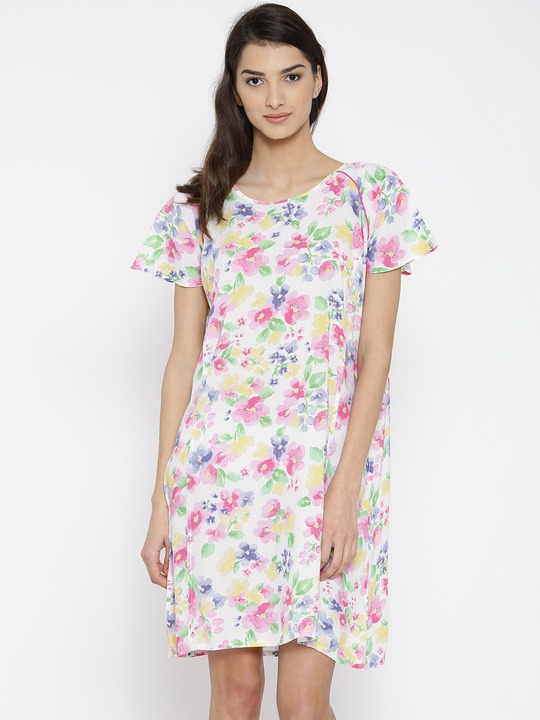 The Kaftan Company White & Pink Floral Print Nightdress NT_ELISH004