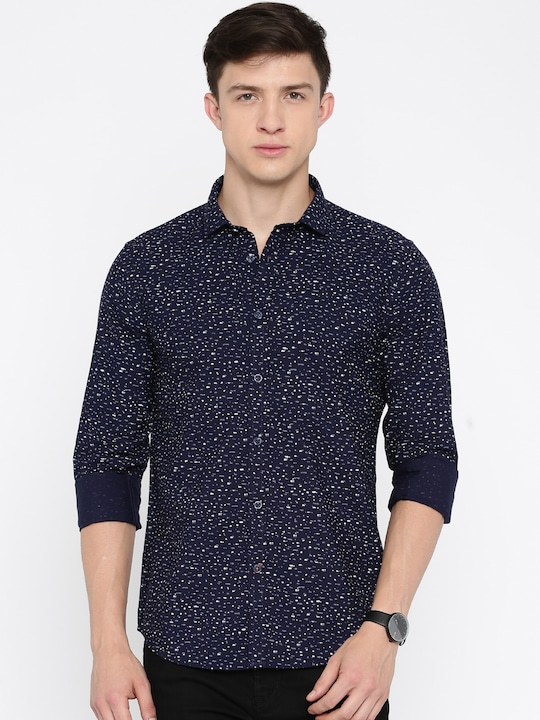 Pepe Jeans Men Navy Printed Slim Fit Casual Shirt