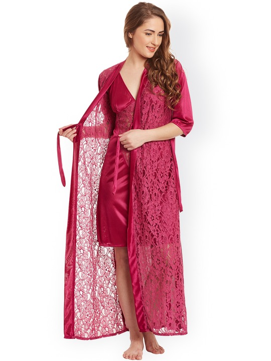 Claura Burgundy Lace Satin Nightdress with Lace Robe ST-17