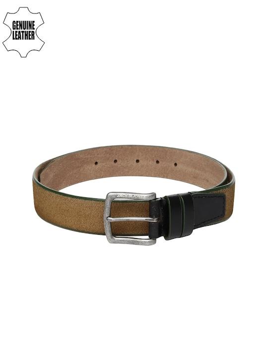 Jack & Jones Men Tan Brown Alex Genuine Leather Belt