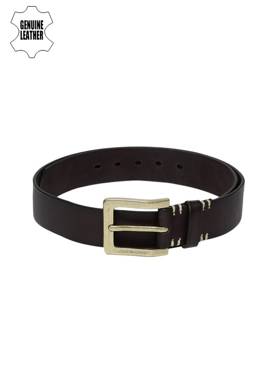 Jack & Jones Men Coffee Brown Jane Genuine Leather Belt