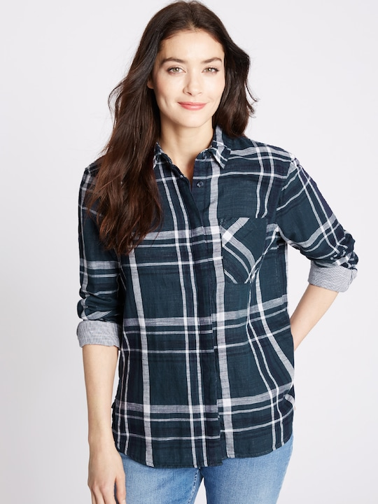 Marks & Spencer Women Navy Blue Checked Casual Shirt
