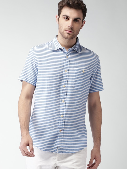 Tommy Hilfiger Men Blue & White Striped Casual Shirt