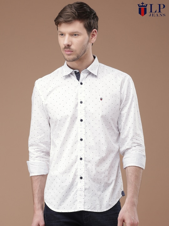 Louis Philippe Jeans Men White Slim Fit Printed Casual Shirt