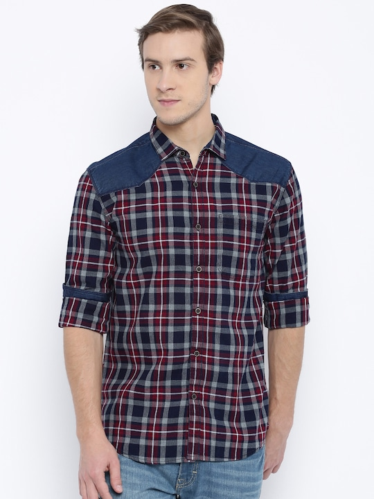 Nature Casuals Men Navy & Red Slim Fit Checked Casual Shirt